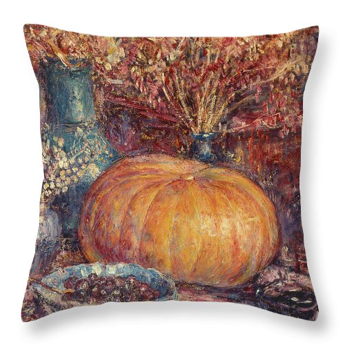 Still Life With Pumpkin Throw Pillow featuring the painting Still Life With Pumpkin by George Morren