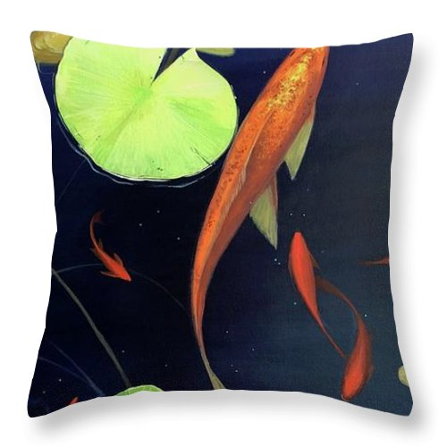Goldfish Throw Pillow featuring the painting Still Water by Hunter Jay
