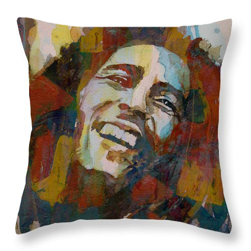Bob Marley Throw Pillow featuring the painting Stir It Up - Retro - Bob Marley by Paul Lovering