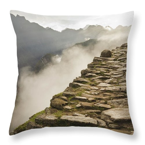 Machu Picchu Throw Pillow featuring the photograph Stone Inca Trail by David Madison