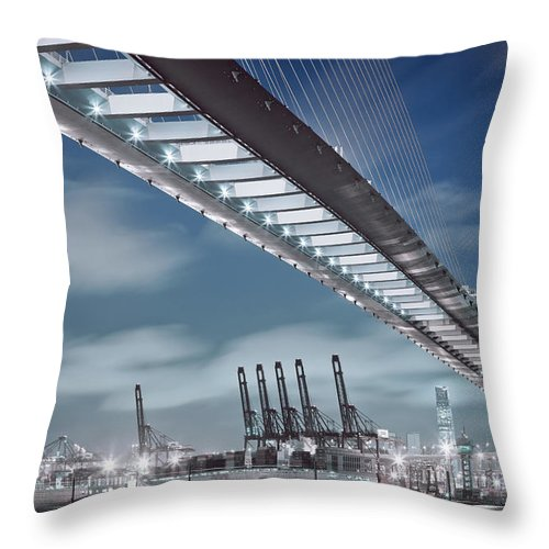 Built Structure Throw Pillow featuring the photograph Stonecutters And Container Terminal by Andi Andreas