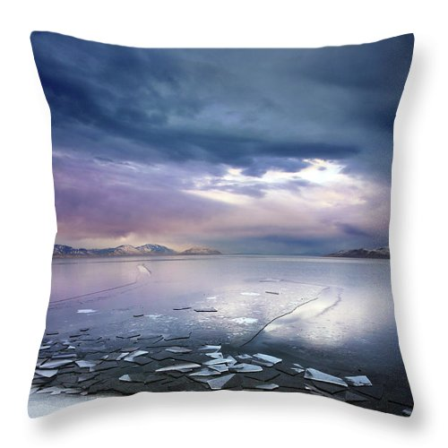 Scenics Throw Pillow featuring the photograph Storm Clouds Clearing Over Icy Lake by Utah-based Photographer Ryan Houston