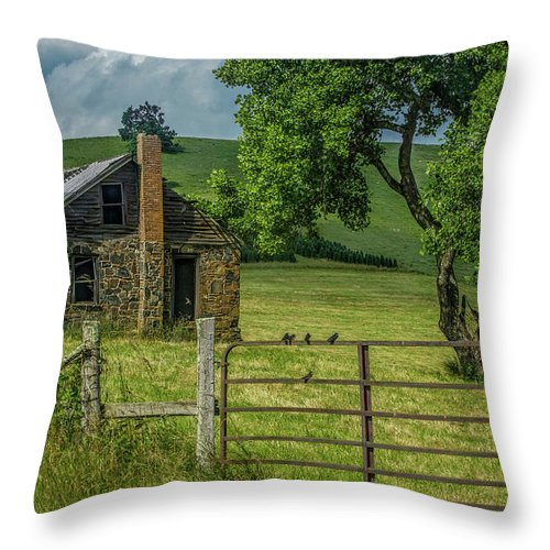 Cabin Throw Pillow featuring the photograph Storm Coming On Junaluska Road by SL Ernst