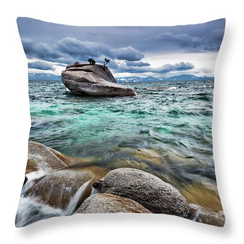 Outdoors Throw Pillow featuring the photograph Storm, Lake Tahoe by Ropelato Photography; Earthscapes