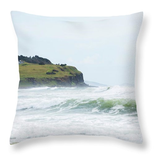Tide Throw Pillow featuring the photograph Storm Swell Waves On A Beach by David Freund