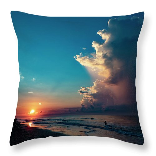 Sunrise Throw Pillow featuring the photograph Stormy Sunrise by Jerry Connally