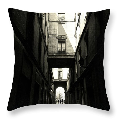 Arch Throw Pillow featuring the photograph Street In Barcelona by Maria Fernandez