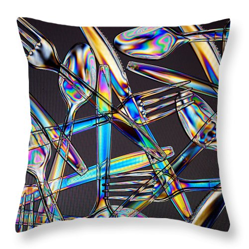 Spoon Throw Pillow featuring the photograph Stress Patterns In Plastic Utensils by David Hogan