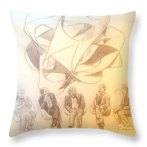 Throw Pillow featuring the drawing String Theory by Jude Darrien