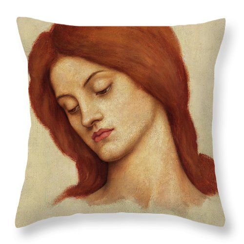 Evelyn De Morgan Throw Pillow featuring the painting Study For St Christina, 1904 by Evelyn De Morgan