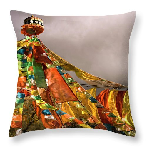 Chinese Culture Throw Pillow featuring the photograph Stupa, Buddhist Altar In Tibet, Flags by Stefano Tronci