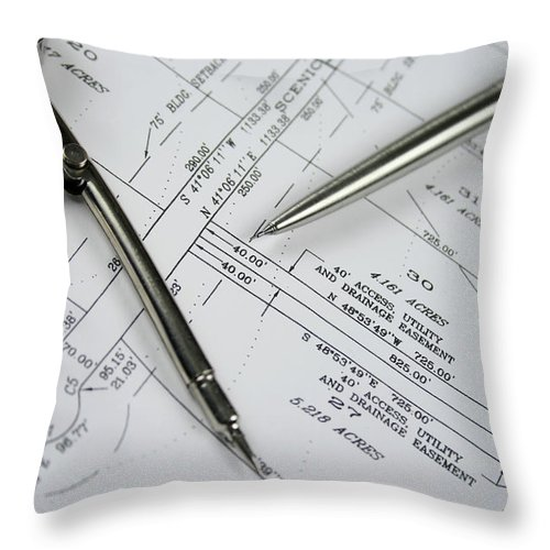 Plan Throw Pillow featuring the photograph Subdivision Development Planning by Lvsigns