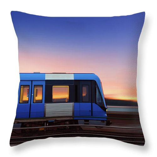 Train Throw Pillow featuring the photograph Subway Train In Profile Crossing Bridge by Olaser