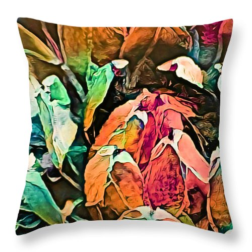 Succulent Abstract #2 This Image Has Been Created By Applying Digital Effects To An Original Photograph Giving It New Dimensions And Textures. Throw Pillow featuring the mixed media Succulent Abstract #2 by Trudee Hunter