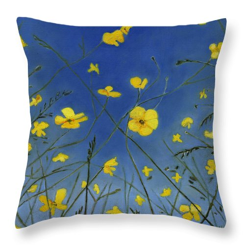 Buttercups Throw Pillow featuring the painting Summer Days And Lazy Ways by Helen White