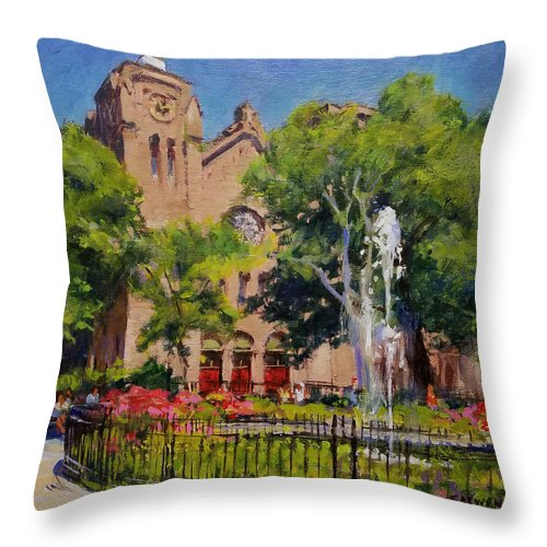Urban Landscape Paintings Throw Pillow featuring the painting Summer Morning, Stuyvesant Square by Peter Salwen