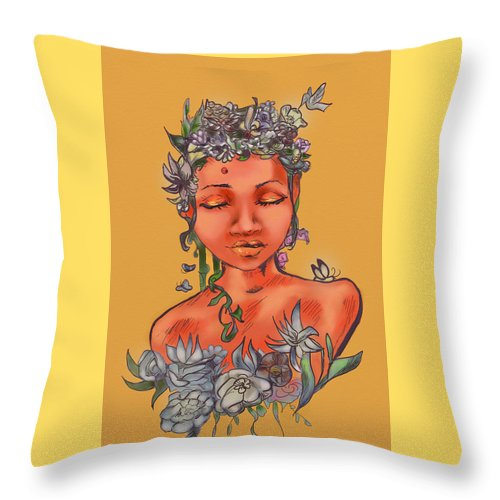 Flowers Throw Pillow featuring the digital art Summer Serenity by Real Enough