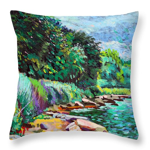 Tranquility Throw Pillow featuring the digital art Summer Shore Of Hudson River, New York by Charles Harker