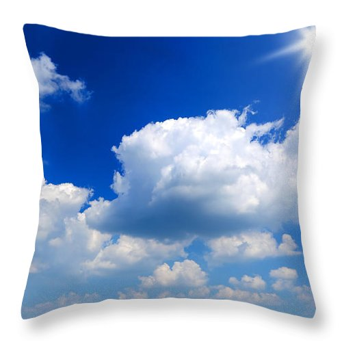 Scenics Throw Pillow featuring the photograph Sun And Clouds by Macroworld