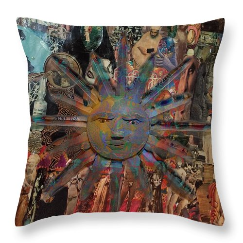 Sun Throw Pillow featuring the mixed media Sun by Michelle White