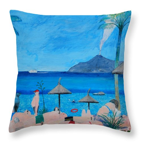 Sunbathing Throw Pillow featuring the digital art Sunbathers by Andy Mercer