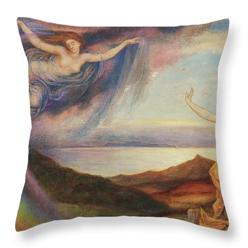 Evelyn De Morgan Throw Pillow featuring the painting Sunbeam And Summer Shower, 1914 by Evelyn De Morgan