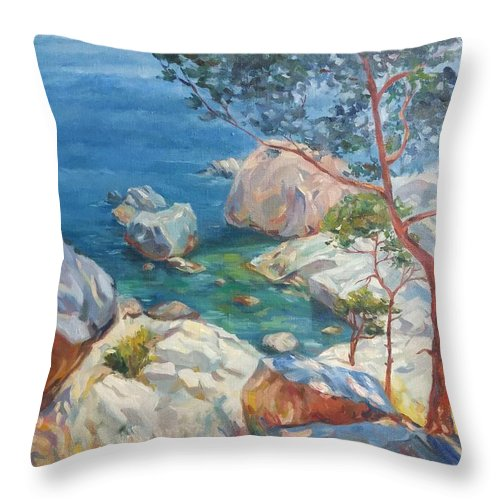The Sun Throw Pillow featuring the painting Sunbeam by Kateryna Kostiuk-Shostka