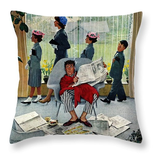 Church Throw Pillow featuring the drawing Sunday Morning by Norman Rockwell