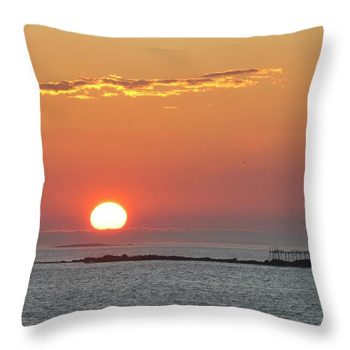 Scenics Throw Pillow featuring the photograph Sunrise by Aimintang