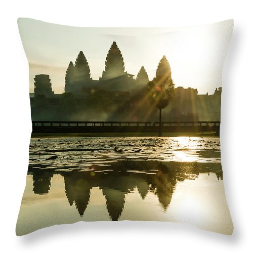 Tranquility Throw Pillow featuring the photograph Sunrise At Angkor Wat by Matt Davies Noseyfly@yahoo.com