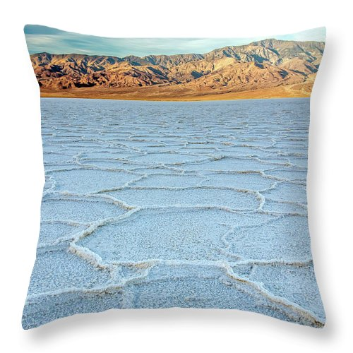 Scenics Throw Pillow featuring the photograph Sunrise At Badwater, Death Valley by Pierre Leclerc Photography