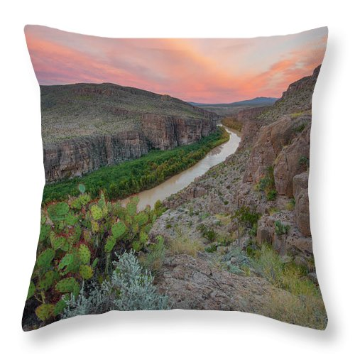 Hot Springs Canyon Throw Pillow featuring the photograph Sunrise In Big Bend Along The Hot Springs Trail 1 by Rob Greebon