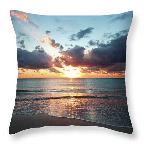 Scenics Throw Pillow featuring the photograph Sunrise In Miami by Tovfla