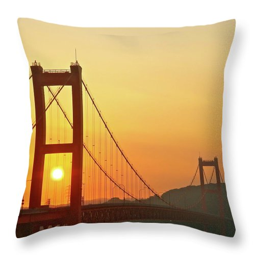 Suspension Bridge Throw Pillow featuring the photograph Sunrise On Hirado Bridge by Kurosaki San