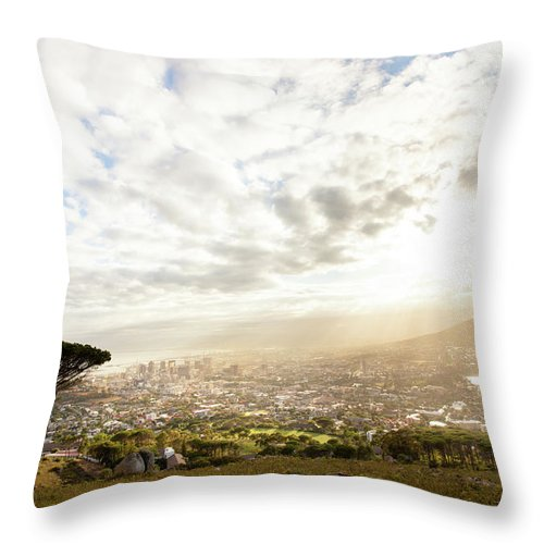 Scenics Throw Pillow featuring the photograph Sunrise Over Cape Town South Africa by Epicurean