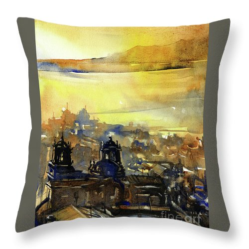 Lake Titicaca Throw Pillow featuring the painting Sunrise Peru by Ryan Fox