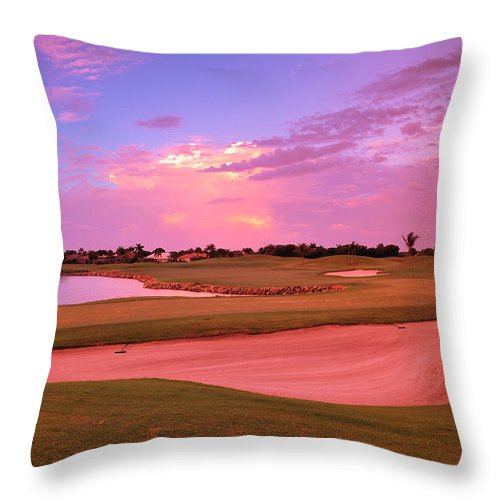 Sand Trap Throw Pillow featuring the photograph Sunrise View Of A Resort On A Golf by Rhz