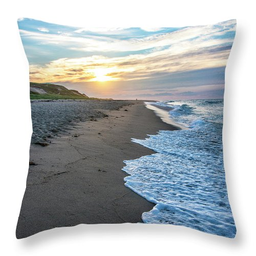 Cape Cod Sunset Throw Pillow featuring the photograph Sunset At Cape Cod National Seashore - Massachusetts by Brendan Reals