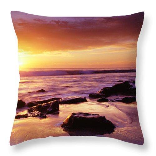 Scenics Throw Pillow featuring the photograph Sunset At Laguna Beach by Jason v