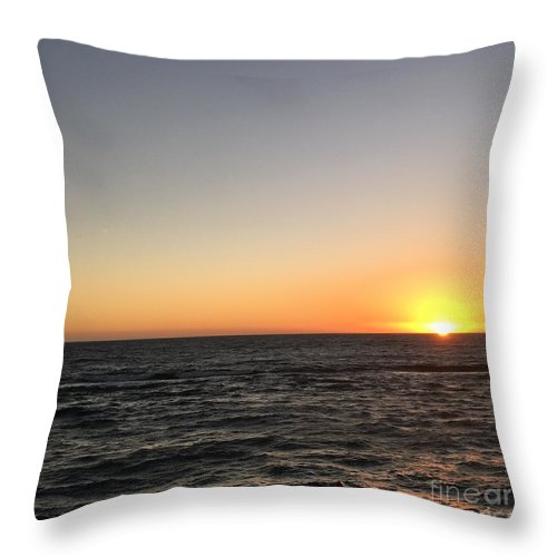 Sunset Throw Pillow featuring the photograph Sunset At The Sea by Epic Luis Art