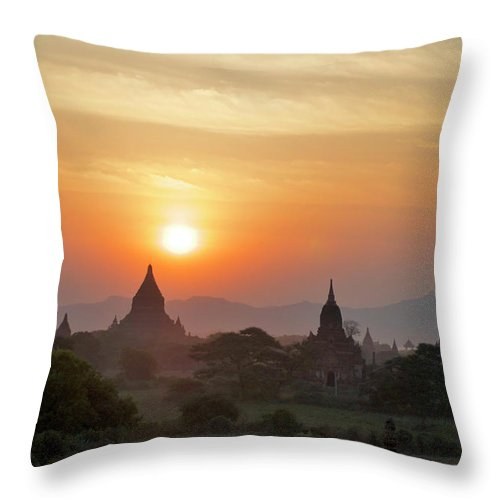 Tranquility Throw Pillow featuring the photograph Sunset From Atop The Shwesandaw Paya by Jim Simmen