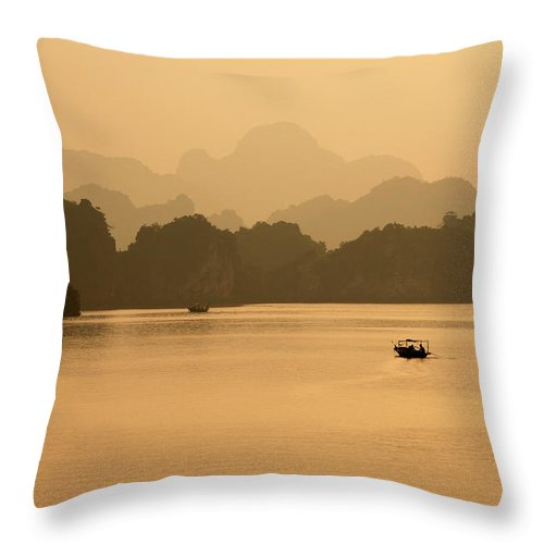 Halong Bay Throw Pillow featuring the photograph Sunset, Halong Bay, Vietnam by Yellow Dog Productions