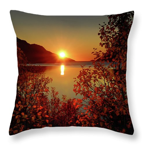 Tranquility Throw Pillow featuring the photograph Sunset In Ersfjordbotn by John Hemmingsen