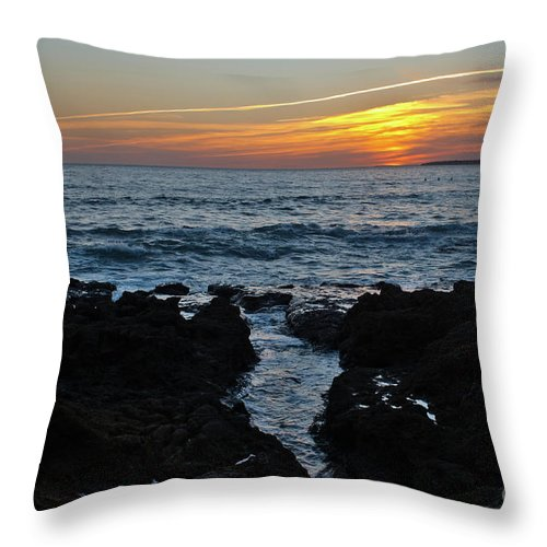 Praia Da Gele Throw Pillow featuring the photograph Sunset In Gale Beach. Coast Of Algarve by Angelo DeVal