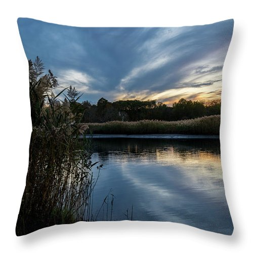Landscape Throw Pillow featuring the photograph Sunset On The Lake by Kaitlyn Casso