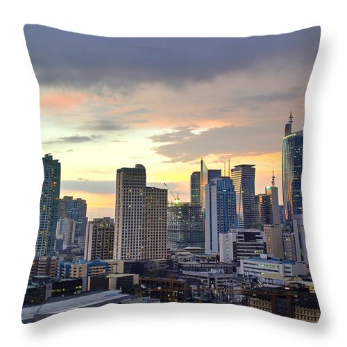Outdoors Throw Pillow featuring the photograph Sunset Over Makati City, Manila by Neil Howard