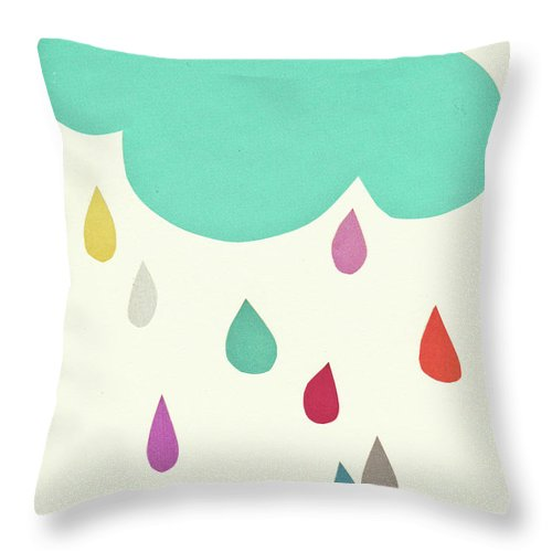 Clouds Throw Pillow featuring the mixed media Sunshine and Showers by Cassia Beck