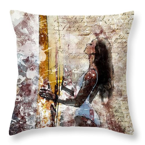 Swimming Wear Throw Pillow featuring the painting Surfer Girl by ArtMarketJapan