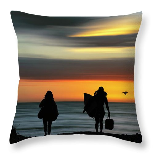 Surf Throw Pillow featuring the digital art Surfer Girls Silhouette by Christopher Johnson
