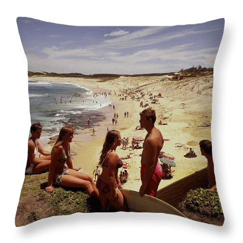 Equipment Throw Pillow featuring the photograph Surfers & Girls In Bikinis, Soldiers by Robin Smith